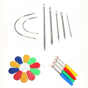MAXGOODS 21PCs Repair Curved Hand Sewing Needles Kit, 7 Stitching Needles + 4 Deluxe Seam Ripper+ 10 Needle Threader