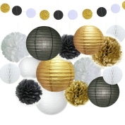 Fascola 16 Pcs Black Gold White Tissue Pom Poms Paper Flowers Paper Lanterns for Birthday Party Decoration