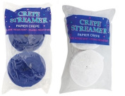 Blue and White Crepe Paper Streamers (2 Rolls Each Colour) MADE IN USA!