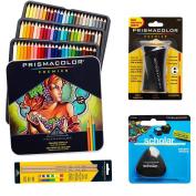 Prismacolor 72-Count Coloured Pencils, Triangular Scholar Pencil Eraser, Premier Pencil Sharpener, and Colourless Blender Pencils