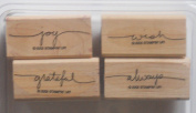 """Stampin' Up """"Small Script"""" Wood Mounted Rubber Stamp RETIRED 2004, Mounted, Set of 4"""