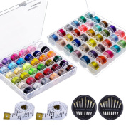 Paxcoo 72 Pcs Bobbins and Sewing Thread with Case for Brother Singer Babylock Janome Kenmore