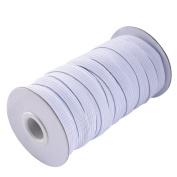 eBoot 20 Yard 1 cm Wide Elastic Spool Elastic Cord Elastic Band Flat Knitting Sewing Stretch Rope, White