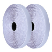 eBoot White Self Adhesive Hook and Loop Tape Sticky Back Fastening Tape, 9.1m