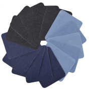 Aboat 15 Pieces Iron On Patches Combo Iron On Denim Cotton Patches Denim Iron-On Repair Kit, 13cm by 7.6cm - 1.9cm