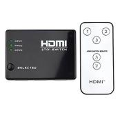 HDMI Switch 3 in 1 FULL HD 1080p 12Bit Deep Colour 3-Port Intelligent 4K Ultra HDMI Compatible PORT Incl. IR Remote Control
