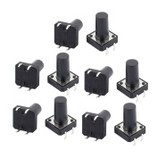 sourcingmap® 10Pcs 12mmx12mmx16mm Panel PCB Momentary Contact Round Black Push Button Power Switch 4 Terminals
