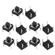 sourcingmap® 10Pcs 4 Terminals Momentary DIP Push Button Tact Tactile Switch 6mmx6mmx5mm