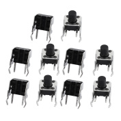 sourcingmap® 10Pcs 6mmx6mm Panel PCB Momentary Tactile Tact Push Button Switch 2 Terminals