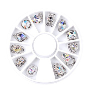 Nail Art Decoration 12pcs/Box 3D Mix Designs Luxury Clear AB Alloy Rhinestone Decorations Wheel by Clest F & H