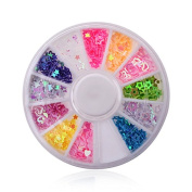 12 Colours Nail Decoration Star Heart Style Acrylic Slice Wheel 3D Jewellery Glitter DIY Tips Nail Art Sticker by Clest F & H