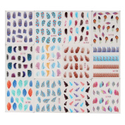 Beauty7 12Pcs Colourful Beauty Leopard Water Transfer Stickers Nail Art Tips Feather Decals Beauty Accessories Nail Art Stickers Makeup Women Girls Ladies