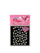 Spring nail stickers, Colourful butterfly flower, yellow, light blue, white
