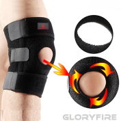GLORYFIRE Knee Brace Open Patella Adjustable Straps Knee Band Compression Support Pads Knee Protector Elastic Sleeve for Sports Arthritis ACL Running Basketball Meniscus Tear Pain Relief