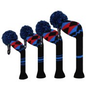 Scott Edward Black Blue Red Alien Planet Pattern Golf Club Head Covers, Acrylic Yarn Double-Layers Knitted, Set of 4