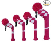 Scott Edward Rose White Argyles Golf Club Head Covers, Acrylic Yarn Double-Layers Knitted, Set of 4