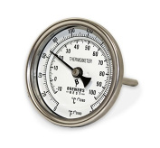 DIAL THERMOMETER 7.6cm FOR BREW KETTLE OR WHISKEY STILL with STAINLESS STEEL THERMOWELL