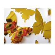 RUGAI-UE 3D stereo stereo mirror Butterfly Butterfly Stickers simulation, 60pcs,gold