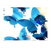 RUGAI-UE 3D stereo stereo mirror Butterfly Butterfly Stickers simulation, 60pcs,blue