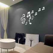 RUGAI-UE Children's room wall stickers stickers stickers, notes DIY Music Room,silvery
