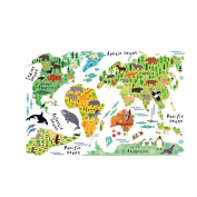 NUOLUX Cartoon Background Colourful Animal World Map Wall Stickers Art Decals For Kids Rooms