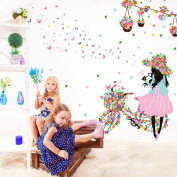 Wall Sticker JUYUAN Butterfly & Flower Fairy Princess Girl Wall Sticker For Room Decoration