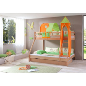 Relita Natural Varnished Beech Cabin Bed with Bed Drawers and Mike 3-Piece textils. Green/Orange,