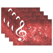 WOZO Romantic Music Note Placemat Table Mat, Note Red 30cm x 46cm Polyester Table Place Mat for Kitchen Dining Room Set of 4