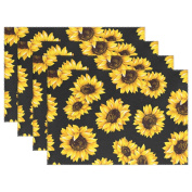 WOZO Black Sunflower Placemat Table Mat, Floral Print 30cm x 46cm Polyester Table Place Mat for Kitchen Dining Room Set of 4