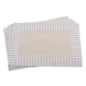SARO LIFESTYLE Striped Border Design Rectangle Cotton Linen Placemat, Set of 4, 36cm x 50cm , Natural