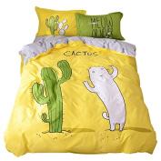 Svetanya Cactus Duvet Cover Set Flat Sheet Pillow Cases 400TC 100% Soft Cotton Fabric Bedding Sets Queen Size