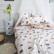 J-pinno Cartoon Sushi Printed Quilt Comforter Throw Blanket Full for Kids Bed Coverlet