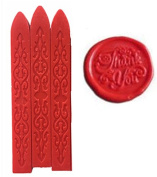 MNYR New 3pcs Red Wax Sticks with Wicks for Decorative Wedding Invitations Wax Seal Sealing Stamp Gift Cards Sealing Wax