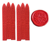 MNYR New 6pcs Red Wax Sticks with Wicks for Decorative Wedding Invitations Wax Seal Sealing Stamp Gift Cards Sealing Wax