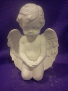 Kneeling Cherub Hands Out 18cm x 13cm X 10cm Ceramic Bisque