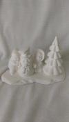 Village People Kids w/ Snowman and Tree 13cm x 7.6cm x 6.4cm Ceramic Bisque