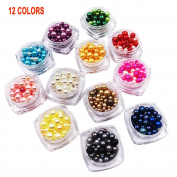 Lasten12 Nail Decoration Beads Kit,Faux Pearls Cabochons for Crafts,3D Glow Nail Art Decorations Beads,Mixed Sizes Faux Crystal Pearls,Mixed Sizes Faux Crystal Pearls,Multicolor of Round Pearl Beads