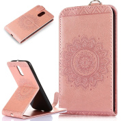 Motorola Moto G4 / G4 Plus Case,ikasus Embossing Lace Floral Mandala Flower Premium PU Leather Fold Pouch Wallet Flip Stand Credit Card ID Holders Case Cover for Motorola Moto G4 / G4 Plus,Rose Gold