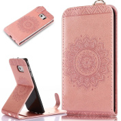 Galaxy S6 Edge Case,Galaxy S6 Edge Cover,ikasus Embossing Lace Floral Mandala Flower Premium PU Leather Fold Pouch Wallet Flip Stand Credit Card ID Holders Case for Samsung Galaxy S6 Edge,Rose Gold