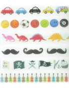Boy Birthday Party Washi Tape Set (6 Rolls Total - 1 of Each Design Pictured) - Decorative Tape with Guitars, Dinosaurs, Pirates, Sports, Cars & Moustache Self Adhesive Tape