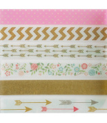 Pink & Gold Washi Tape Set (6 Rolls Total - 1 of Each Design Pictured) - Gold Arrows Patterned Tape, Gold Chevron Party Supplies, Pink Polka Dot Tape, Pink Flowers Party Favours