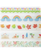 Nature Washi Tape Set (5 Rolls Total - 1 of Each Design Pictured) - Outdoor Craft Supplies, Flowers Adhesive Tape Products, Rainbow Tape, Tree Leaf Custom Tape, Beach Party Supplies