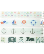 Nautical Washi Tape Set (4 Rolls Total - 1 of Each Design Pictured) - Anchor Party Supplies, Self Adhesive Tape, Pirate Party Favours, Transparent Tape, Sailing Design Tape