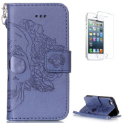 iPhone SE/5S/5 Leather Wallet Case [with Free Screen Protector],KaseHom Skull Rose Flower Pattern Design Embossed Book Style Folio Flip Magnetic Closure Stand Function with Card Slots and Detachable Wrist Strap Synthetic PU Leather Protective Case Cove ..