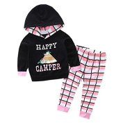 good01 Toddler Baby Girl Clothes Hooded Tops Tracksuit Grid Pants Outfits Set