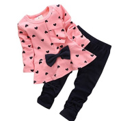 BURFLY 2pcs Kids Clothes Set Baby Girls Long Sleeve Tops + Pants Outfit Set