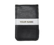 Sunfish Custom Scorecard and Yardage Book Holder / Cover - Black with White Stripe - NAME Engraved
