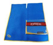 NEW Club Glove Microfiber Caddy + Pocket Towel 43cm x 100cm Blue/Gold