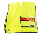 NEW Club Glove Microfiber Caddy + Pocket Towel 43cm x 100cm Neon Yellow