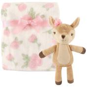 Hudson Baby Plush Blanket with Plush Toy Set, Girl Lamb